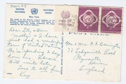 1956 UN Stamps COVER (Postcard Security Council Mural) United Nations NY  To GB - New York – UN Headquarters