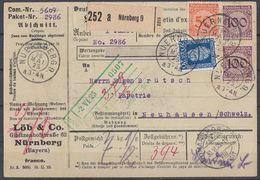 DR Paketkarte Mif Minr.342,2x 343,369 Nürnberg 29.5.25 Gel. In Schweiz - Deutschland
