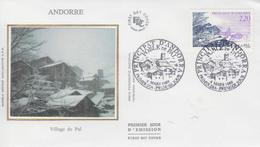 Enveloppe  1er  Jour   ANDORRE   Village  De  PAL    1989 - FDC