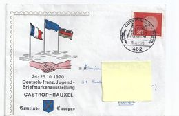"Enveloppe + Carte ""deutsch-franz Jugend Briefmarkenausstellung CASTROP-RAUXEL"" Timbrées 24-25/10/1970 - Europa-CEPT"