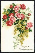 """Fleurs - Roses Et Mimosa - """" Joyeux Anniversaire """" - Circulé - Circulated - Gelaufen - 1939. - Fleurs, Plantes & Arbres"""