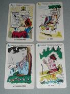 Rare Lot 4 Anciennes Cartes De Jeu Des 7 Familles, Les Indiens Indien D'Amérique, Chef Calumet Rodeo Canoé Arc - Gesellschaftsspiele