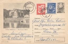 ROMANIA 1968 - Bildpostkarte Ganzsache + Zusatzfrankierung Gel.v. Orastie N. Wien - Ganzsachen