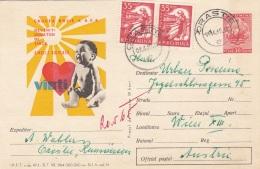 ROMANIA 1965 - Werbepostkarte Ganzsache + Zusatzfrankierung Gel.v. Orastie N. Wien - Ganzsachen