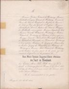 OOSTKAMP Marie Adelaïde Du SART De BOULAND épouse ROTSART De HERTAING 28 Ans En 1854 Doodbericht Avis Mortuaire - Décès
