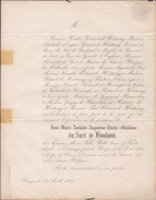 OOSTKAMP Marie Adelaïde Du SART De BOULAND épouse ROTSART De HERTAING 28 Ans En 1854 Doodbericht Avis Mortuaire - Todesanzeige