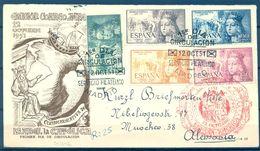 1951 , ED. 1097 / 1101 , SOBRE PRIMER DIA CIRCULADO , V CENT. NACIMIENTO ISABEL LA CATÓLICA , LLEGADA AL DORSO - 1951-60 Covers