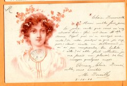 ALB428, Belle Fantaisie, Buste De Femme, Précurseur, Circulée 1900 - Women