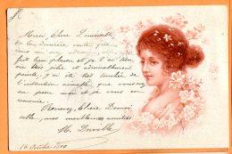 ALB429, Belle Fantaisie, Buste De Femme, Précurseur, Circulée 1900 - Women