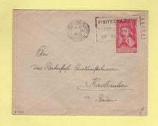 N°305 Seul Sur Lettre - Destination Baden - Strasbourg - 1-7-1936 - Marcophilie (Lettres)