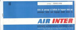 AIR INTER N° 43025946  LIGNES AERIENNES INTERIEURS   NICE PARIS - Transportation Tickets