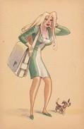 AK Frau Mit Hund - Künstlerkarte - Karikatur - Italien  (31099) - Frauen