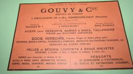 GOUVY & Cie MAITRES DE FORGES à DIEULOUARD , HOMBOURG-HAUT - PUBLICITE DE 1928. - Pubblicitari