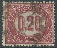 1875 REGNO USATO SERVIZIO DI STATO 20 CENT - S3-2 - Servizi