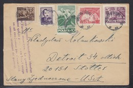 POLAND 1950 Cover To USA - With Special Anti War Cancel - 1944-.... Republik