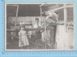 Grande Photo D'époque - Deux Garçons Et Une Fille - Photos