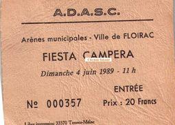 Billet Corrida Du 04/06/1989 Arènes De FLOIRAC - Scans Recto-verso - Biglietti D'ingresso
