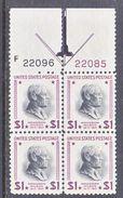 U.S. 832  X 4 CENTER  LINE  BLOCK   *  1938  Issue - United States