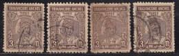 3ch X 4, Perf., / Shades Varieties, Travancore Used 1939, British India - Travancore