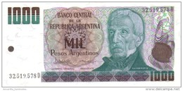 ARGENTINA 1000 PESOS ARGENTINOS 1985 P-317b UNC SERIES D, SIGN: LOPEZ &  VAZQUEZ [ AR317b ] - Argentina