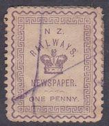 New Zealand 1890 Railway Newspaper, One Penny, Used - 1855-1907 Crown Colony