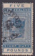 New Zealand AR25, 1882 Five Pounds, Dark Blue, Used, Faults - 1855-1907 Crown Colony