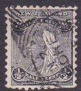 New Zealand Scott 67AB, 1891 Half Penny Black Per 12 X 11.5, Used - 1855-1907 Crown Colony