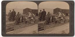 Stereo-Foto Underwood & Underwood Publishers, New York, Ansicht Villa San Giovanni, Waisenkinder Am Bahnhof - Stereoscopic