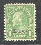 "1929 1c Benjamin Franklin ""Kansas Overprint"" Sc 658 VF Mint Hinged*OG Well Centered - United States"