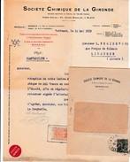 1919 - BORDEAUX - BLAYE (33) - SOCIÉTÉ CHIMIQUE De La GIRONDE - - Documentos Históricos