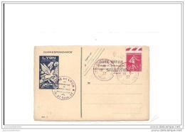 Carte Exposition Philatelique Poste Aerienne Lyon 1937 Avec 5c Semeuse - Poste Aérienne