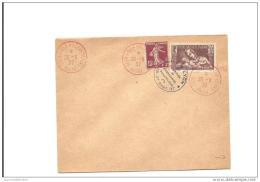 Enveloppe   Exposition Philatelique Poste Aerienne Lyon 1937 Avec 15c Semeuse Et Bloc Feuillet Au Dos - Poste Aérienne