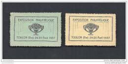 2 Vignettes  Exposition Philatelique Toulon 1937 * - Commemorative Labels