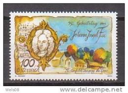 """Österreich 2010:  """"Joh.Joseph Fux""""  Postfrisch - 1945-.... 2ème République"""