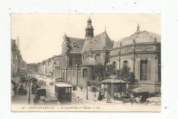 Cp, 77 , FONTAINEBLEAU , La Grande Rue Et L'église , Tramway , Attelages , Chevaux , Publicité : Durand - Fontainebleau