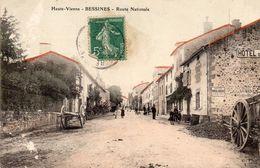 CPA -   BESSINES  (87)  Route Nationale  -  Hotel Du  Commerce   - Publicité  Eau De Toilette LUBIN -  Papier D' Arménie - Bessines Sur Gartempe