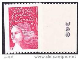 France Roulette N° 3418 B ** Marianne Du 14 Juillet  De Luquet Le TVP Rouge -> RF N° Noir à Droite - Rollen