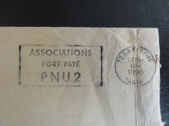 La Flèche - 1990 - Flamme : Associations/port Payé/PNU 2 (pour Envoi De Bulletins) - Marcophilie (Lettres)
