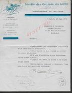 EQUITATION LETTRE ILLUSTRÉE DE 1938 SOCIETE DES COURSES DU LUDE HIPPODROME DE MALIDOR : - Equitation