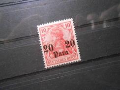 D.R.37b  20PAauf10Pf* Deutsche Auslandpostämter (Türkei) 1911 - Mi 8,00 € - RS Dünne Stelle - Offices: Turkish Empire
