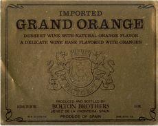 1352 - Espagne - Andalousie - Imported Grand Orange - Dessert Wine With Natural Orange Flavour - Bolton Brothers Jerez - Etiquettes