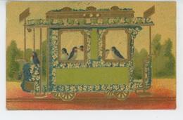OISEAUX - Jolie Carte Fantaisie Gaufrée Oiseaux Dans Tramway (embossed Postcard) - Pájaros