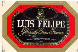 1361 - Espagne - Andalousie - Brandy Gran Reserva - Luis Felipe - Rubio Millan La Palma Del Condado - Etiquettes
