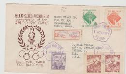 Ko-S035 /  KOREA - Olympiade 1956 Melbourne, FDC Per Einschreiben Nach Chicago, USA - Korea (Süd-)