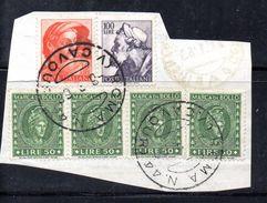 T1281 - REPUBBLICA 1963 , Frammentino Con Michelangiolesca + Marca Da Bollo - 6. 1946-.. Repubblica