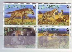 Uganda 2008 WWF - Spotted Hyena 4v. Strip Mint ** - Uganda (1962-...)