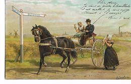 Cacao  Blooker-  Illustration  Signée  Eerelman  -  Couple  Dans  Tres  Belle  Calèche - Publicité
