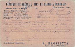 (33) Carte Pub Publicité - BORDEAUX - 22 Rue Vilaris - Fabrique De Tuyaux & Fils En Plomb - Bordeaux