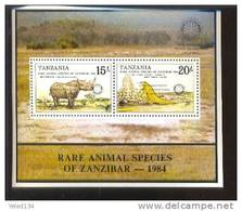 TANZANIA   411 OP  MINT NEVER HINGED MINI SHEET OF RARE ANIMALS  ; ROTARY - Unclassified