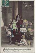 CPA FANTAISIE JOYEUX NOEL PERE NOEL ET ENFANTS - POUPEE ANCIENNE - Christmas